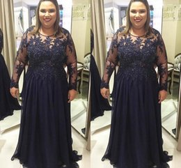 Wholesale Women T Shirts Beads - Plus Size Long Sleeve Mother of the Bride Dresses See Through Appliques Beaded Chiffon Floor Length Women Formal Evening Gowns Mom Dresses
