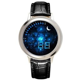 Wholesale Touch Screen Led Round Watch - 2018 mens women unisex lovers multifunction cool design LED digital watch wholesale students star sky moon touch screen watches