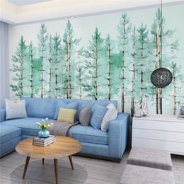 Wholesale Green Tree Wallpapers - Modern simple bedroom living room wallpaper small fresh green tree Nordic TV background wall wallpaper murals