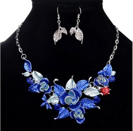 Wholesale Fancy Necklace Sets - Fancy Necklaces Earrings set Women Flower Leaf Party Dress Accessories Gift idea Jewelry Set