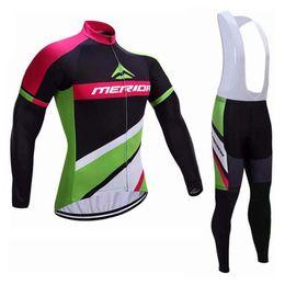 2019 calças para ciclismo MERIDA team Ciclismo jersey Ciclismo mangas compridas jersey calças define conjuntos de babador Quick-Dry Respirável Venda Quente conjunto de ciclismo desconto calças para ciclismo