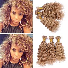 Wholesale Honey Sales - 8A Grade Malaysian 27 Blonde Hair Weaves Deep Wave Honey Blonde Human Hair 3 Bundles Deep Curly Extensions On Sale