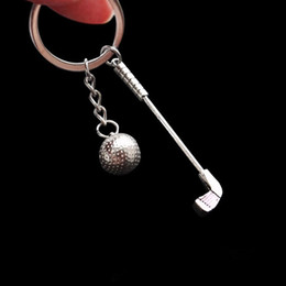 Golfringe online-Golf Stil Schlüsselring Kreative Legierung Keychain Schlüsselanhänger Ring Halter Geldbörse Tasche Schnalle Für Auto Party Geschenk Schlüsselanhänger Schmuck