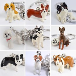 Wholesale Dog Ring Jewelry - 3D Pet Dog Keychains Hand-painted Craft Cute Dogs Key Ring Border Collie Shelti HUSKY Metal Car Keychain jewelry woman bag key