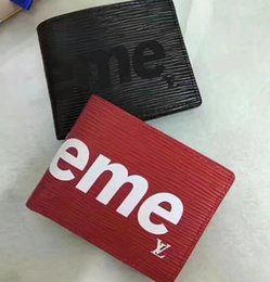 Wholesale Business Premiums - With Box logo Paris Premium Red Leather Slender Wallet X Red Black Wallet Genuine Leather Outdoor Sport Bag