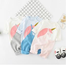 c272886f5a6d Autumn Infant Girls unicorn Romper 2018 New Spring Cartoon Knit Baby Boys  Jumpsuit Fashion INS Newborn Bodysuit Toddler Onesie C3863