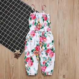 Wholesale Christmas Hot Pants - Girls Floral playsuit cute fashion suspender pants for 1-5T baby sisters ins hot girls casual trousers outfits