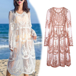 hippie clothes Coupons - free shipping Crochet Beach dress round neck long sleeve knitted Bohemian Hippie women crochet clothing embroidery beachwear lace dresses