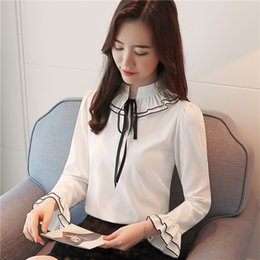white long sleeve chiffon shirt Australia - Spring New Womens Tops and Blouses Chiffon Blouse Sweet Bow Ruffled Flare Sleeve Long Sleeve Shirt White Shirts Underwear