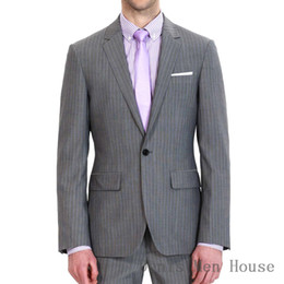 2019 костюм-костюм 2018 Men's 2 Piece 1 Buon Notch Lapel Slim Classic Stripe Gray Suits For Business Event Or Tailor Made Groom (Jacket+Pants) скидка костюм-костюм