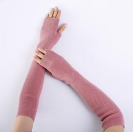 Baumwollhandschuhe ausstrecken online-lange Strickhandschuhe Frauen Baumwolle Knopf Stil Wildleder halbe Finger Stretch Samt Futter warmen Arm setzt