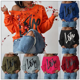Wholesale Maternity Tops Clothing - 10 Colors LOVE Letter Printed Long Sleeve Off Shoulder Hoodies Valentines Clothing Sweatshirt Outwear Maternity Tops CCA8757 20pcs