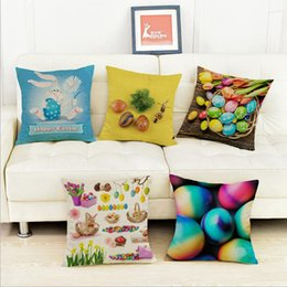 Wholesale Bunny Pillow - Easter Bunny Pillow Case Polyester Square Pillow Covers Bunny Egg cushions Covers Easter Gift Festival Home Decor 14 Designs YW295