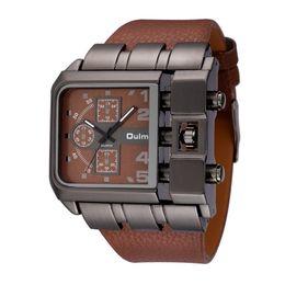 Wholesale unique stainless designs - OULM Brand Original Unique Design Square Men Wristwatch Wide Big Dial Casual Leather Strap Quartz Watch Male Sport Watches