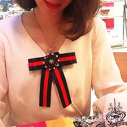 Wholesale White Leather Shirts - British brooch Handmade stripes bow ties Korean red rhinestone bow tie brooch streamers shirt tooling collar accessories retro