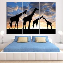 pintura a óleo abstrata paisagem africana Desconto 3 Pcs Girafa Animal Africano Estilo Moderno Abstrato Da Lona Pintura A Óleo Paisagem Poster Pictures Pintura Decorativa Arte Da Parede Sem Moldura