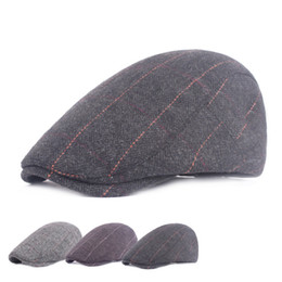 0043ab2616f Vintage Wool Flat Berets Caps for Men Print Striped Beret Hat Winter Thick  Warm Casual Peaked Caps