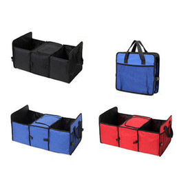 Wholesale Organizer For Car Trunk - DHL Car Trunk Organizer with Cooler Bag Collapsible Cargo Storage Bag for Car Back Seat SUV Truck red blue balck