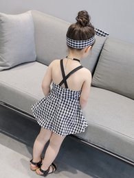 Wholesale kid girls sexy - New Girl Clothing Kids Black White Suspender Dress With Headband Summer Sexy Cool Dress