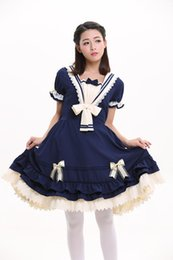 sailor uniform cosplay Coupons - Top Quality Summer Navy Sailor Uniform Dress Lolita Costume Cosplay for Women Maid Alice Halloween Dress
