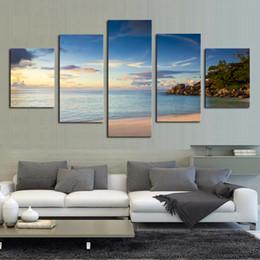 2019 hermoso paisaje pinturas lienzo Impresión de la lona Abstract Wall Art 5 piezas Beautiful Sea Landscape Home Decor HD Frame Paintings Modern Modular Pictures rebajas hermoso paisaje pinturas lienzo