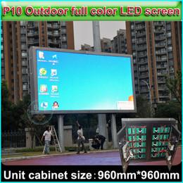 Publicidad al aire libre pantalla led online-P10 Pantalla LED a todo color, Pantalla de publicidad exterior a prueba de agua, Tamaño del gabinete 96cm * 96cm, Pared de video a todo color DIY