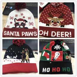 ha condotto il cappello del cappello del cappello Sconti Cappello a maglia unisex per Natale LED Cappelli per bambini Babbo Natale Pupazzo di neve pupazzi di renna Alce Festival Cappelli luminosi Lampeggiante lavorato a maglia all'uncinetto Beanie Caps