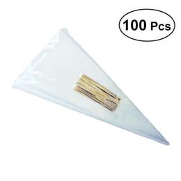 100 unids / lote DIY Wedding Birthday Party Sweet Cellophane Clear Candy Cono Bolsas de almacenamiento Barato Organza Bolsas Decoración desde fabricantes