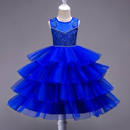 Wholesale Red Pagent Dresses - Gorgeous Royal Blue Flower Girls Dresses Sheer Neck 4 Layer Ruffles Lovely Children Brithday Party Gowns Cumunion Dress Girl's pagent Gown