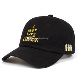 Chapéu de feltro amarelo on-line-Moda Hip Hop eu sinto como carta bordado boné de beisebol ajustável chapéu de algodão amarelo preto