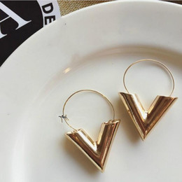 alphabet letters for jewelry Coupons - Designer jewelry luxury Earrings for women Brincos Oorbellen Simple Metal Wind Letter V Shape Stud Earrings For Women Gift