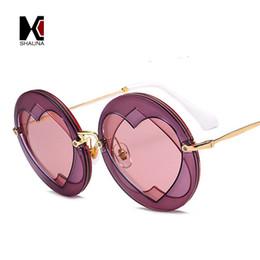 Wholesale Heart Sharp - SHAUNA Oversize Fashion Heart Sharp Lens Women Round Sunglasses Popular Ladies Purple Red Glasses Shades