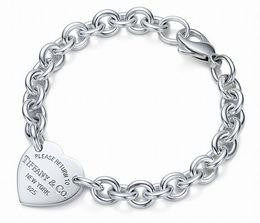 Wholesale high quality jade jewelry - High Quality Celebrity design Silverware bracelet Women Letter Heart-shaped Bracelets Jewelry With Box