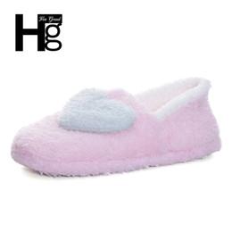 zapatillas de casa de felpa Rebajas HEE GRAND Las mujeres aman las zapatillas de las mujeres de la casa Cozy Lighted Plush Fur Booties Home Floor Shoes para damas embarazadas o mujer XWT520