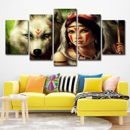 wolf art prints Coupons - Canvas Art 5 Pieces Mononoke Hime White Wolf God Mona Princess Mononoke Home Wall Decor Canvas Picture Art HD Print Painting
