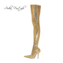 Tacón alto de plata online-2018 otoño invierno moda tacones de aguja tacones de oro plata con lentejuelas sobre la rodilla hasta el muslo botas de estiramiento zapatos de mujer48