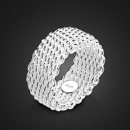 оптовые кольца стерлингового серебра Скидка Новая мода 9 мм широкое серебряное кольцо. Женщины твердые стерлингового серебра 925 кольцо плетеные сетки кольцо. Персонализированные серебряные ювелирные изделия оптом D18111405