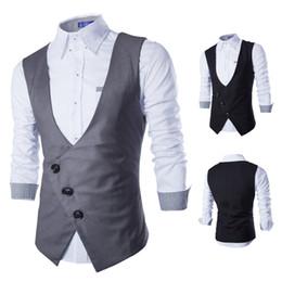 Wholesale Buckle Vests - Men's Vest 2017 New Male Fashion Brand Banquet Men Classic Vest Inclined Buckle Gilet Costume Homme Slim Fit Gray Waistcoat