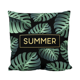 Wholesale used sofas - 2018 New Design Car Sofa Office Used Pillowcase Digital Printing Velvet Summer Leaf Throw Cushion Cover For Home Decorations