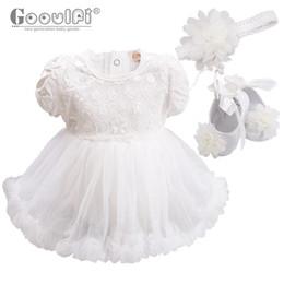 deaaa9b298ae7 Gooulfi bébé robe ensemble été mignon blanc avec bandeau chaussures Floral  infantile fille fête princesse anniversaire cadeau bébé robe ensemble
