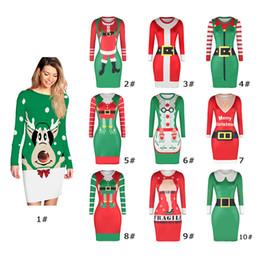 плотно прилегающие платья Скидка 2018 новый 10 цветов eBay горячее Рождество горничной цифровой печати платья Сексуальная облегающие талии карман хип платья