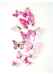 12 pçs / set espelho adesivos de parede decalque borboletas 3d arte da parede espelho de decoração para casa borboleta geladeira decalque em sal de