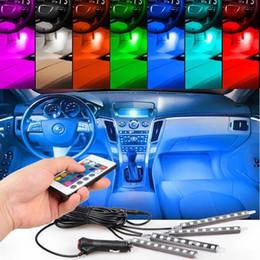36 luzes led on-line-4 pcs 36 LED RGB Car LED DRL Luz de Tira CONDUZIU as Luzes de Tira Cores Interior Do Carro Lâmpada Atmosfera Decorativa Com Controle Remoto Car Styling