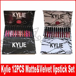 Wholesale white marbles - Kylie jenner Liquid lipstick lipgloss MATTE VELVET 12 colors collection Makeup lip gloss marble lipgloss Black white box