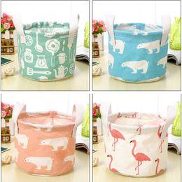Wholesale Bear Toy Box - New 2018 Flamingo Bear Storage Baskets Bucket Kids Room Toys Bins Clothing Handle Organizer Laundry Bags Box WX9-394