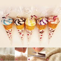 Wholesale Gift Wrapping Paper Rolls - Cone flower paper wrapped shaped double color Towels Ice Cream cotton towel baby shower perfect gift