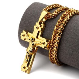 Wholesale Vintage Rhinestone Cross Necklace - 2018 Gold Jesus Christ Cross Pendant Necklace Fashion Religious For Men Gift Vintage Christian Hip Hop Trendy Jewelry Men Women