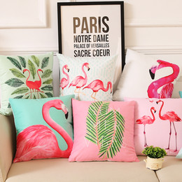 Wholesale Flower Sofas - Summer Flower Birds Cushion Cover 40X40cm Palm Leaf Flamingo Cactus Soft Pillow Cases Pillow Covers Bedroom Sofa Decoration
