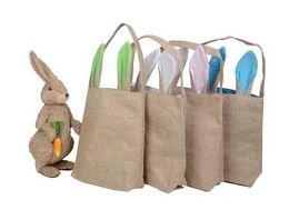fabric eggs UK - 14 Colors INS Burlap Easter Basket with Bunny Ears Bunny Ears Basket Cute Easter Gift Bag Rabbit Ears Put Easter Eggs A08