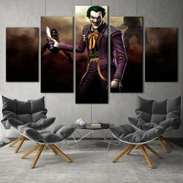 Wholesale Textured Oil Painting Frame - (No frame)Batman and Joker series 1 HD Canvas print 5 Panel Wall Art Oil Painting Textured Abstract Pictures Decor Living Room Decoration
